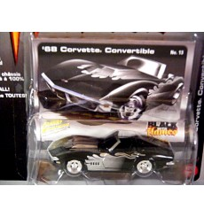 Johnny Lightning Black with Flames 1968 Chevrolet C3 Corvette Convertible