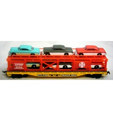 HO Scale Trains - Car Transport with six 1955 Buick Hardtops