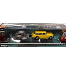 Maisto - Tow & Go - 1955 Chevrolet Nomad  and Traveler Trailer Set