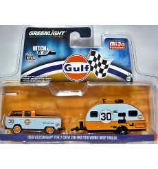 Greenlight Promo - Gulf Racing Hitch and Tow Set - Volkswagen Pickup Truck and Winnie Drop Trailer