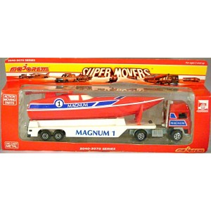 Majorette Super Movers - Volvo Offshore Race Boat Transporter and Boat - Magnum 1