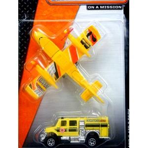Matchbox - Land and Air Set - International Brushfire Truck and Blaze Blaster Airplane