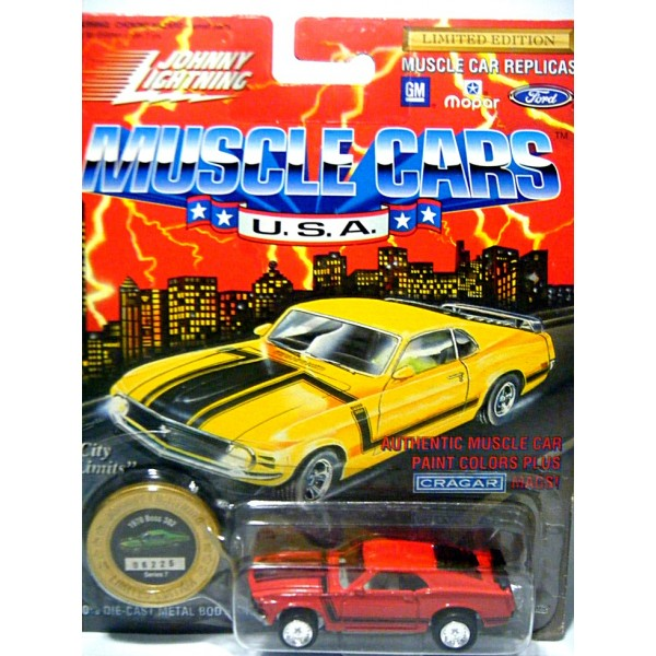 1970 BOSS 302 SERIES 7 RED JOHNNY LIGHTNING MUSCLE CARS