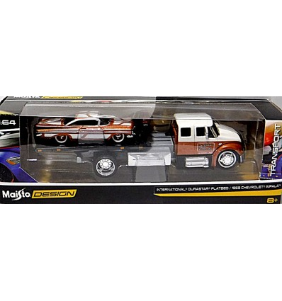 Maisto Transport 1959 Chevy Impala And International Durastar Flatbed Tow Truck Global Diecast Direct