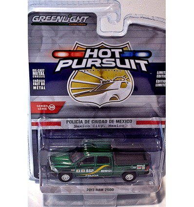 Greenlight Hot Pursuit - Rare Green machine Chase Vehicle - Mexico City Police RAM 2500 Pickup Truck