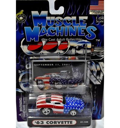 Muscle Machines Stars & Stripes 1963 Chevrolet Corvette Split Window Coupe