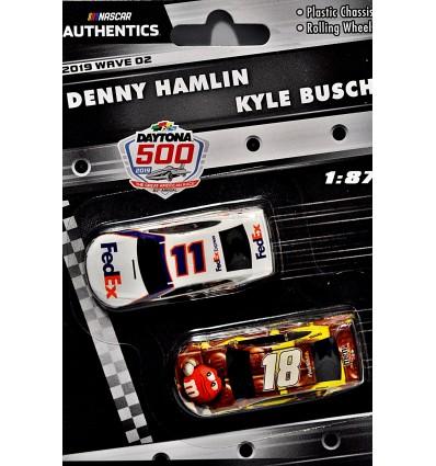 NASCAR Authentics - HO Scale - Joe Gibbs Racing - Denny Hamlin FedEx & Kyle Busch M&M's Toyota Camry Set