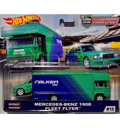 Hot Wheels Car Culture - Team Transport - Mercedes Benz 180E and Fleet Flyer Transporter