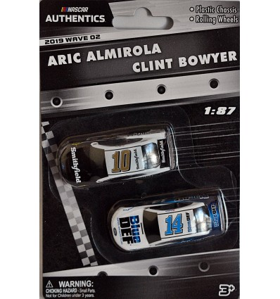 NASCAR Authentics - HO Scale - Aric Almirola and Clint Bowyer Smithfield and Blue Def Ford Mustangs