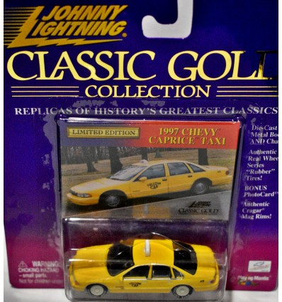 "Johnny Lightning Classic Gold - Rare White Lightning - 1995 Chevy Caprice ""Yellow Cab"" Taxi"