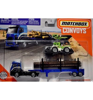 Matchbox Convoy Sequioa Lumber Transport Set - Ford Cargo Semi Tractor Trailer & Dirt Smasher Log Loader