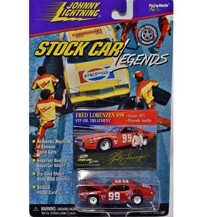Johnny Lightning Stock Car Legends - Rare White Lightning - 1971 Fred Lorenzen Plymouth Satellite Stock Car