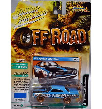 Johnny Lightning Street Freaks - Off Road - Redneck Muscle Car - 1969 Plymouth Road Runner Dirty Ol' Bird